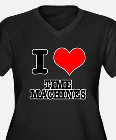 I Heart (Love) Time Machines Women's Plus Size V-N
