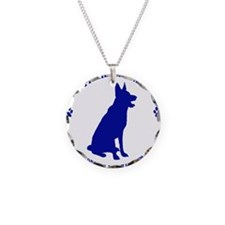 Blue Official Military Worki Necklace Circle Charm
