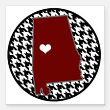 "Heart of Alabama  Square Car Magnet 3"" x 3"""
