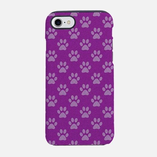 Puppy paw prints on purple bac iPhone 7 Tough Case