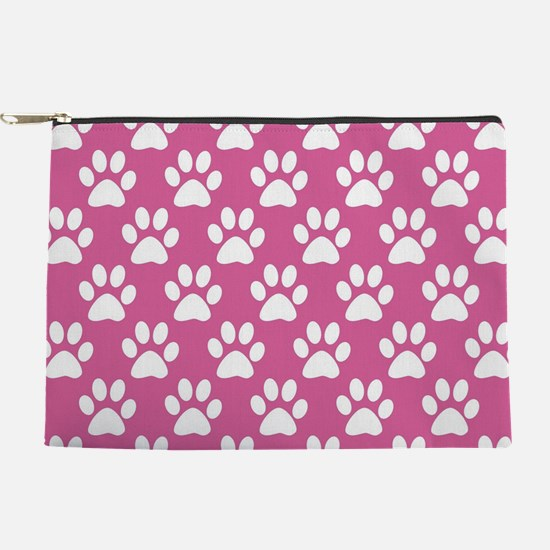 Pink and white puppy paws pattern Makeup Pouch