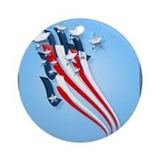 Sweeping American Flag Round Ornament