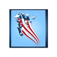 """Sweeping American Flag Square Sticker 3"""" x 3"""""""