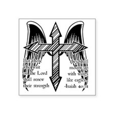 "Wings Like Eagles Square Sticker 3"" x 3"""