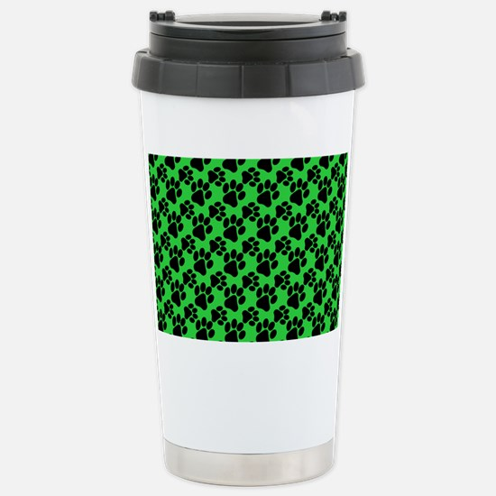 Dog Paws Green Stainless Steel Travel Mug