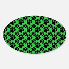 Dog Paws Green Sticker (Oval)