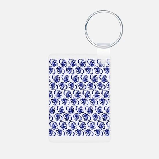 Blue Indian Head Dress Aluminum Photo Keychain