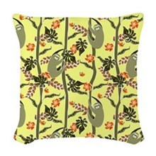 Tropical Sloth Woven Throw Pillow
