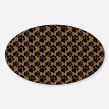 Dog Paws Brown Sticker (Oval)