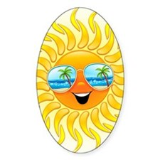 Summer Sun Cartoon with Sunglasses Decal