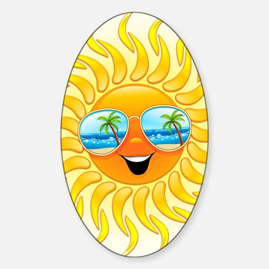 Summer Sun Cartoon with Sunglasses Sticker (Oval)