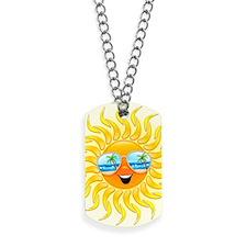 Summer Sun Cartoon with Sunglasses Dog Tags