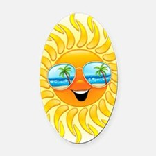 Summer Sun Cartoon with Sunglasses Oval Car Magnet