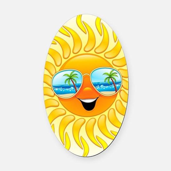 Summer Sun Cartoon with Sunglasses Oval Car Magnet