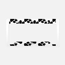 Black Dog Paws on White License Plate Holder