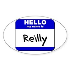 hello my name is reilly Oval Decal