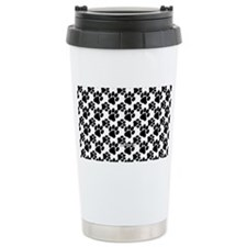 Black Dog Paws on White Travel Mug