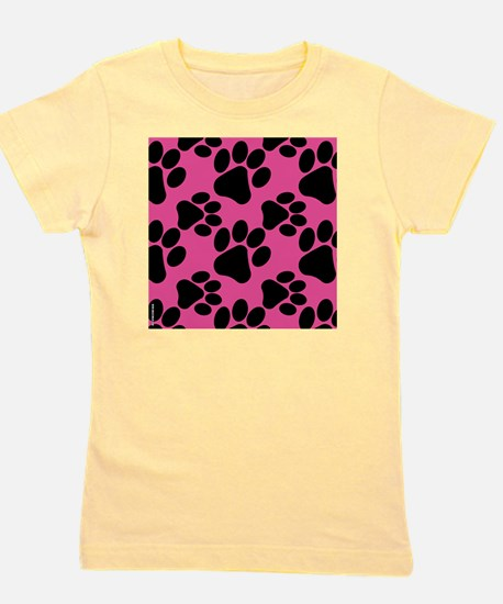 Dog Paws Bright Pink Girl's Tee