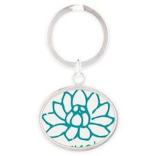Namaste Lotus Oval Keychain