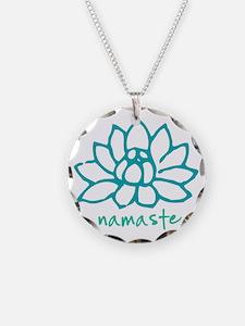 Namaste Lotus Necklace Circle Charm
