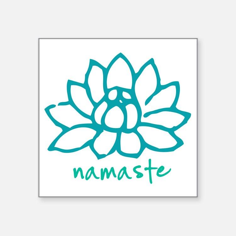"Namaste Lotus Square Sticker 3"" x 3"""