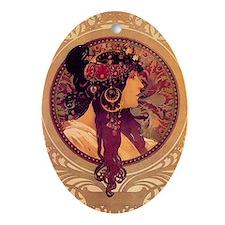 Byzantine Lady by Alphonse Mucha Oval Ornament