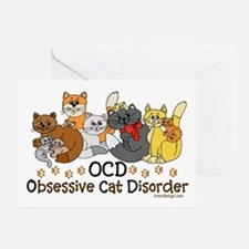 OCD Obsessive Cat Disorder Greeting Card