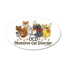 OCD Obsessive Cat Disorder Wall Decal