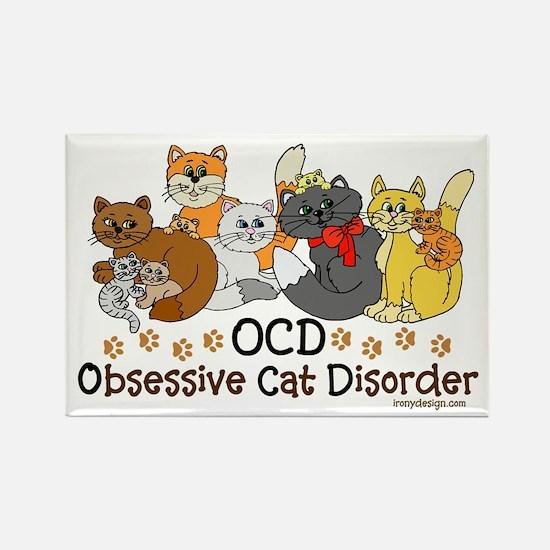 OCD Obsessive Cat Disorder Rectangle Magnet