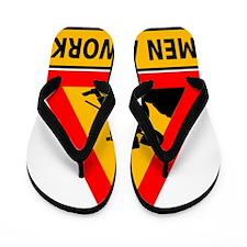Men At Work Sign Flip Flops