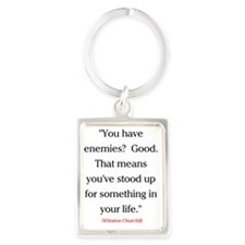CHURCHILL QUOTE - ENEMIES Portrait Keychain