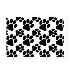 Black Dog Paws on White P Postcards (Package of 8)