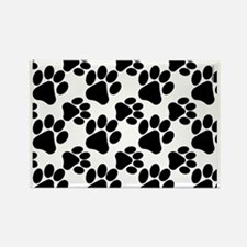 Black Dog Paws on White Puppy Rectangle Magnet