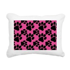 Dog Paws Bright Pink Pup Rectangular Canvas Pillow