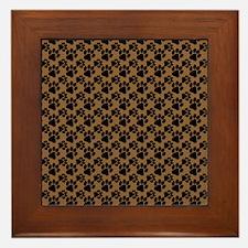 Dog Paws Brown Framed Tile