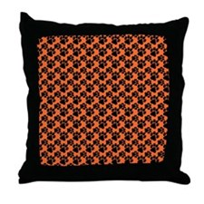 Dog Paws Clemson Orange Throw Pillow