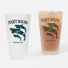 Puget Sound Orcas Drinking Glass