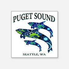 """Puget Sound Orcas Square Sticker 3"""" x 3"""""""