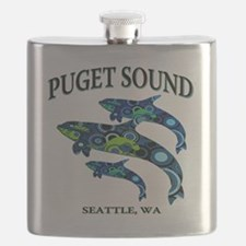 Puget Sound Orcas Flask
