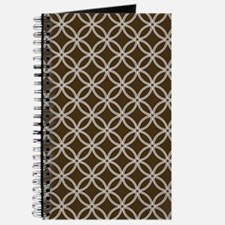 Dotted Circles 5x7 White Brown Journal
