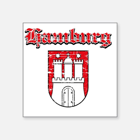 "Hamburg Coat of Arms Design Square Sticker 3"" x 3"""