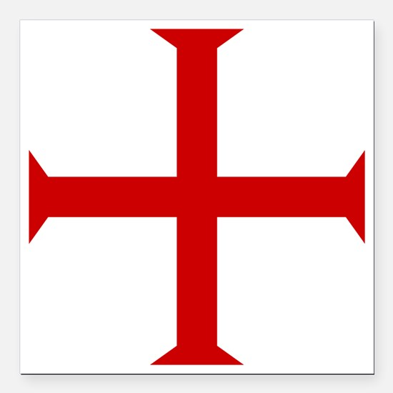 "Knights Templar Cross Square Car Magnet 3"" x 3"""