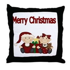 Merry Christmas with Twins Throw Pillow
