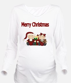 Merry Christmas with Long Sleeve Maternity T-Shirt