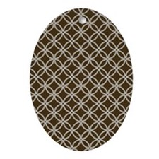 Dotted Circles D60x84 white brown Oval Ornament