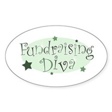 """Fundraising Diva"" [green] Oval Decal"