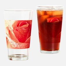 Raindrops On A Peach Tea Rose Drinking Glass