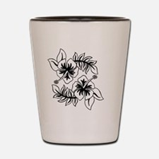 Black Hibiscus Flowers Shot Glass