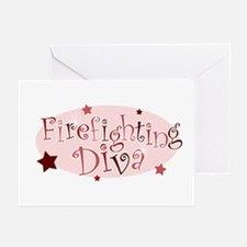 """""""Firefighting Diva"""" [red] Greeting Cards (Package"""