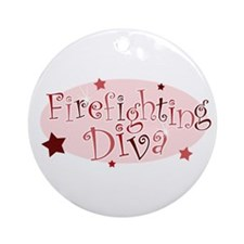 """Firefighting Diva"" [red] Ornament (Round)"